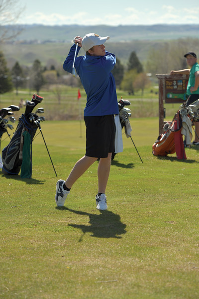 Matthew Gaston | The Sheridan Press<br>Sheridan's Brayden James tees off on the 18th hole during tournament play at Kendrick Municipal Golf Course Friday, May 3, 2019.
