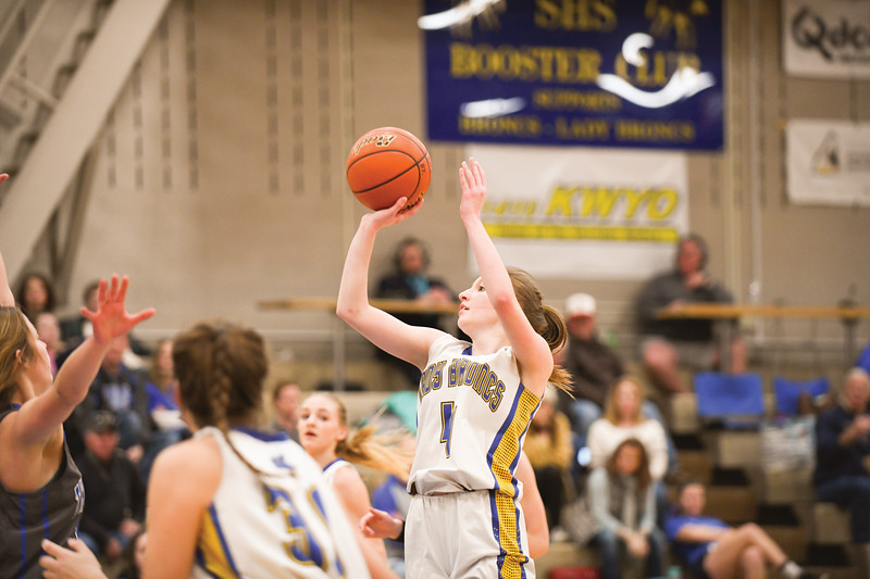 Matthew Gaston | The Sheridan Press<br>Sheridan's Annie Mitzel (4) hits the jump shot from the top of the key against Thunder Basin Saturday, Feb. 16, 2019.
