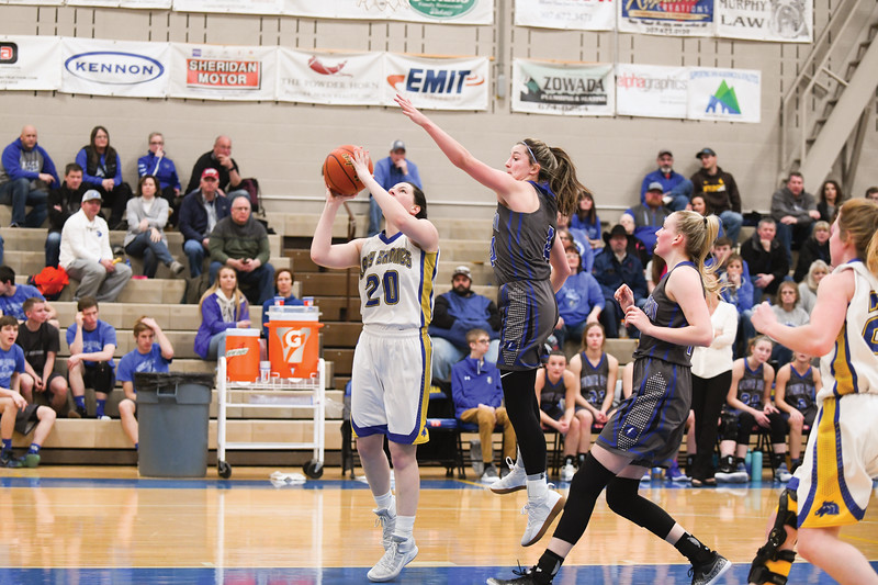 Matthew Gaston | The Sheridan Press<br>Sheridan's Bailee Wilson (20) shots for two from under the basket against Thunder Basin Saturday, Feb. 16, 2019.