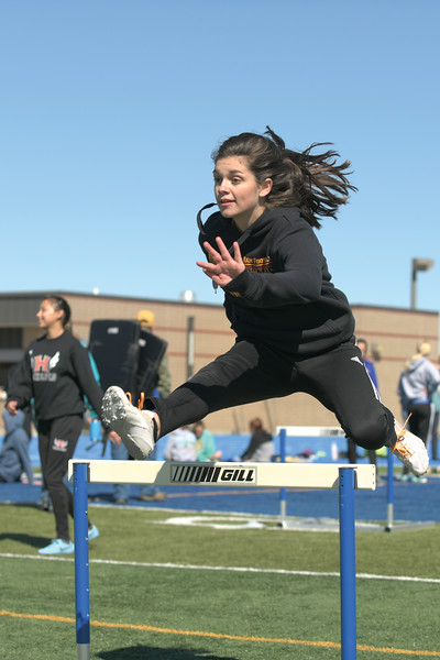 Matthew Gaston | The Sheridan Press<br>Big Horn's Torie Greenelsh warms up for the hurdles Saturday, April 13, 2019.