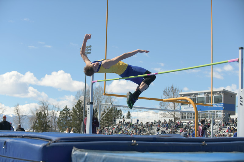 Matthew Gaston | The Sheridan Press<br>Sheridan's Gus Wright easily clears the bar during the high jump Saturday, April 13, 2019.