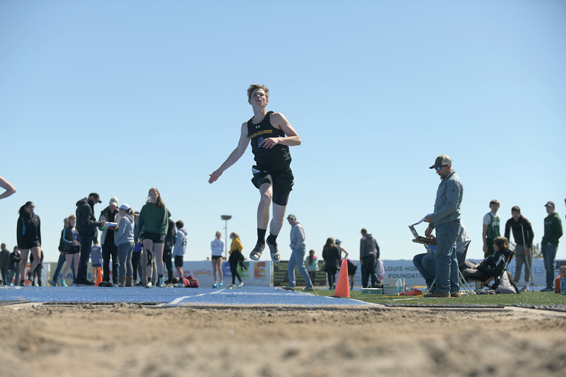 Matthew Gaston | The Sheridan Press<br>Arvada-Clearmont's Torrey Veach is walking on air during the triple jump Saturday, April 13, 2019.