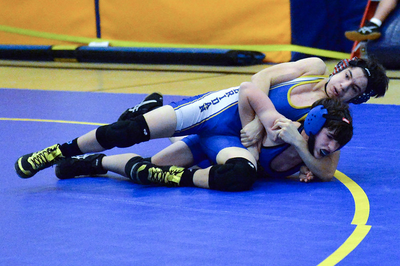 Joel Moline | The Sheridan Press<br /> Sheridan's Christian Meza maintains control over teammate Aiden Sawyer during the Blue/Gold Dual Tuesday, Dec. 10, 2019.
