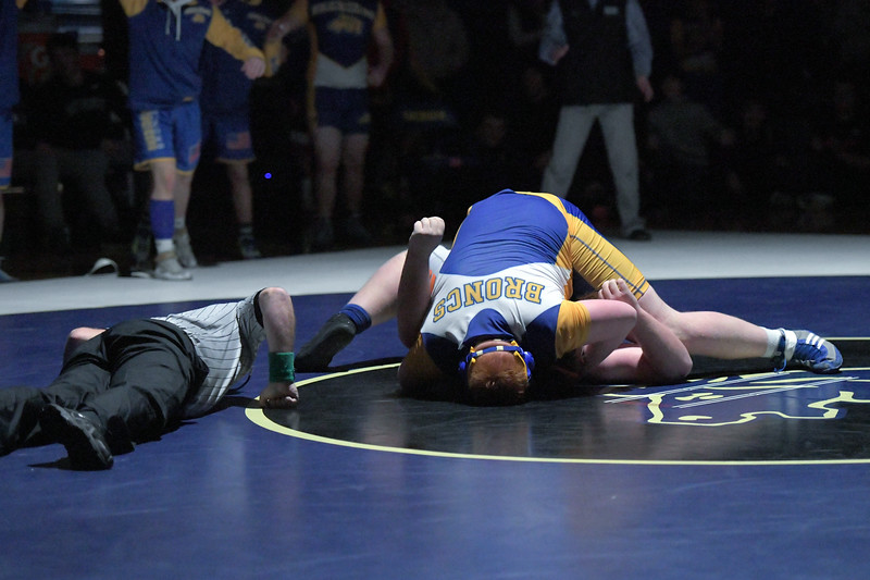 Joel Moline | The Sheridan Press<br /> Sheridan's Justin Vela sticks his opponent but the time runs out in the final period of the 285-pound match before he could earn the win by pin in the dual against Worland, Thursday, Dec. 12, 2019.