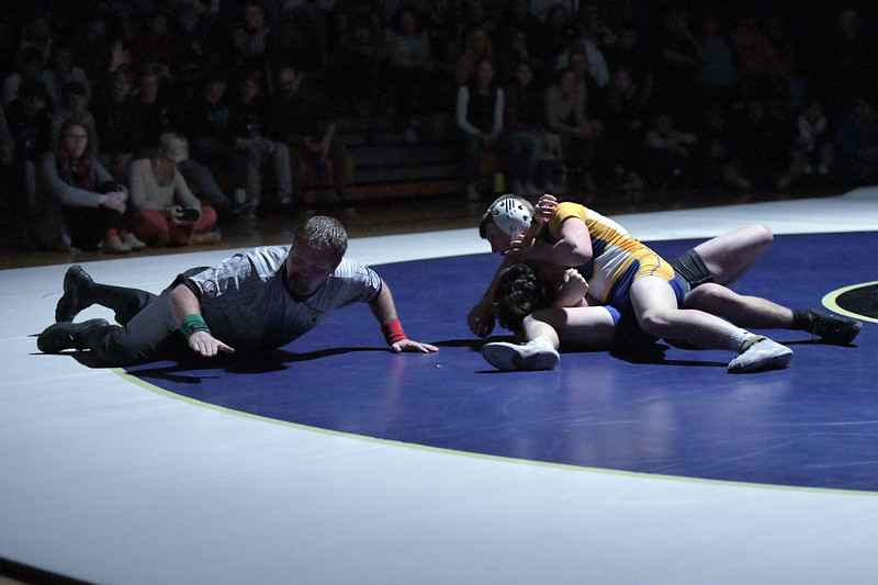 Joel Moline | The Sheridan Press<br /> Sheridan's Hunter Goodwin wins his match by pin in the dual against Worland, Thursday, Dec. 12, 2019.