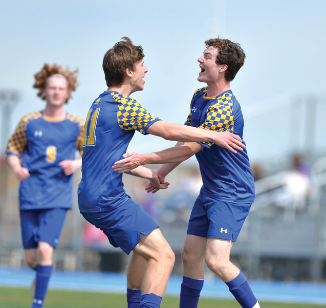 Bud Denega | The Sheridan Press<br /> Sheridan's Ethan Rickett, left, celebrates with Toby Jacobs during a game against Campbell County at Homer Scott Field Saturday, April 6, 2019.