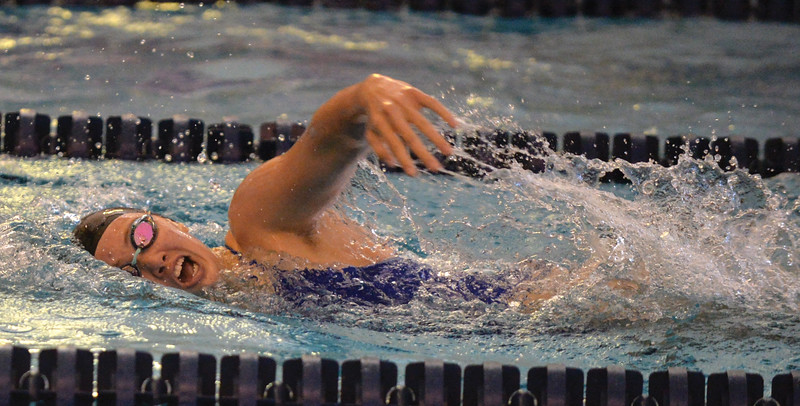Bud Denega | The Sheridan Press<br /> Piper Carroll competes in the 200-meter freestyle during the Sheridan Pre-Invite at Sheridan Junior High Friday, Sept. 21, 2018. The Lady Broncs host the Sheridan Invite Saturday beginning at 9 a.m.