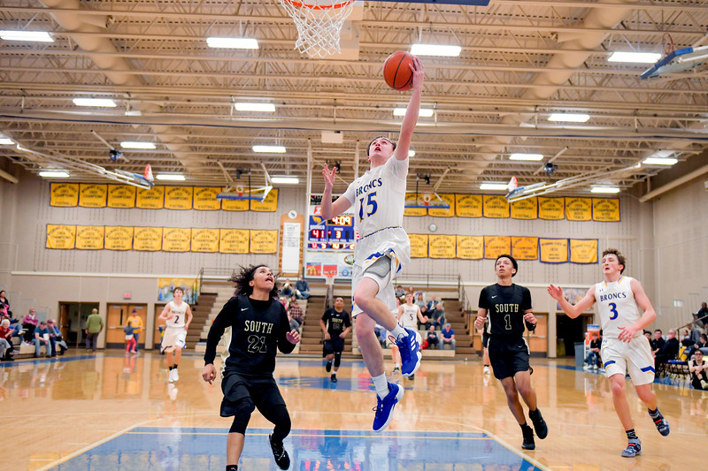 Joel Moline | The Sheridan Press<br>Sheridan's Carter Dubberley (15) goes up for a layup in action against Cheyenne South High School Friday, Feb. 14, 2020.