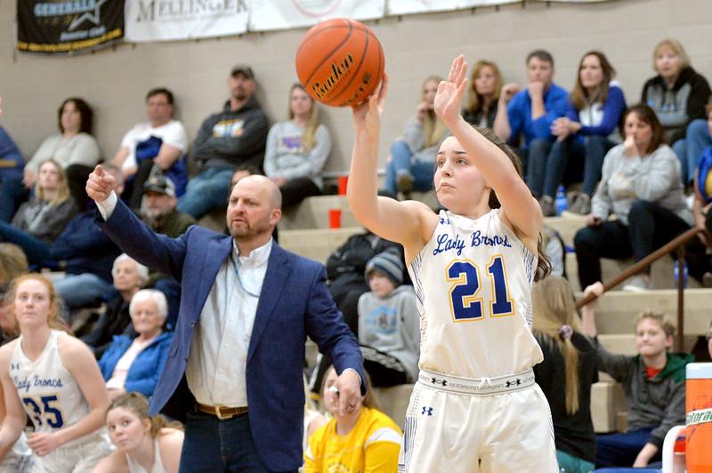 Joel Moline | The Sheridan Press<br /> Sheridan's Mollie Morris (21) attempts a shot against Laramie High School Saturday, Feb. 15, 2020.