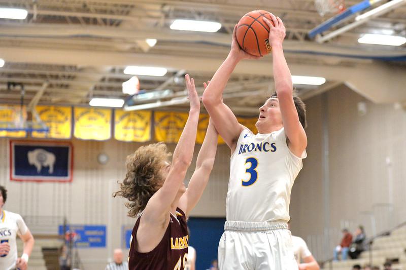 Joel Moline | The Sheridan Press<br /> Sheridan's Zach Koltiska (3) goes up strong to the basket against Laramie High School Saturday, Feb. 15, 2020.