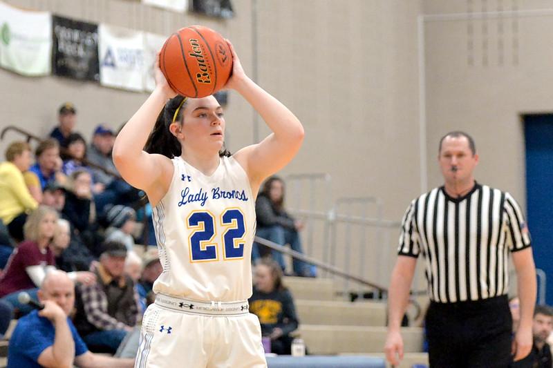 Joel Moline | The Sheridan Press<br /> Sheridan's Aniston Beard (22) looks for an open teammate against Laramie High School Saturday, Feb. 15, 2020.