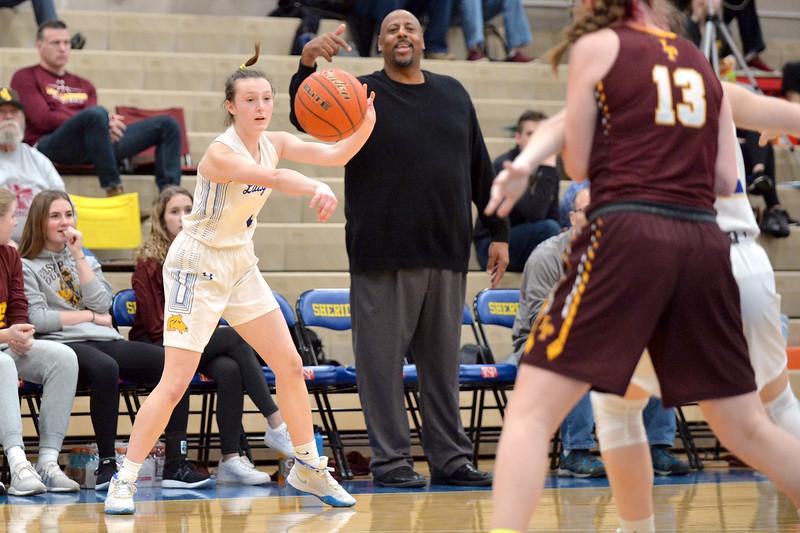 Joel Moline | The Sheridan Press<br /> Sheridan's Sydni Bilyeau (1) passes the ball to a teammate against Laramie High School Saturday, Feb. 15, 2020.