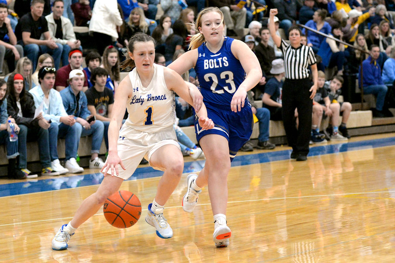 Joel Moline | The Sheridan Press<br /> Sheridan's Sydni Bilyeau (1) draws a foul while driving to the basket against Thunder Basin High School Friday, Jan. 24, 2020.