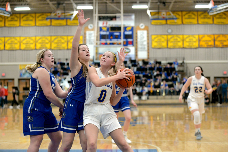 Joel Moline | The Sheridan Press<br /> Sheridan's Gillian Mitzel (0) lines up a shot against Thunder Basin High School Friday, Jan. 24, 2020.