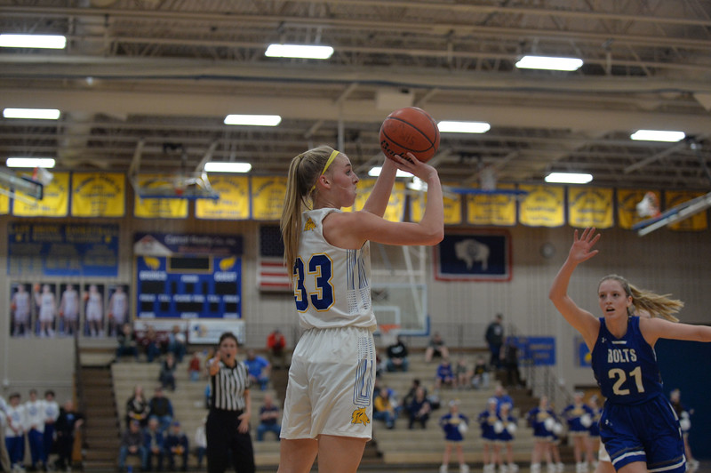 Joel Moline | The Sheridan Press<br /> Sheridan's Katie Ligocki (33) sinks a 3-pointer from the corner against Thunder Basin High School Friday, Jan. 24, 2020. Ligocki led the team with 10 points.