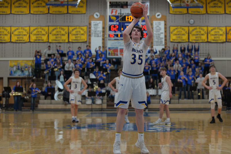 Joel Moline | The Sheridan Press<br /> Sheridan's Sam Lecholat (35) makes a free-throw in overtime against Thunder Basin High School Friday, Jan. 24, 2020. Lecholat was 8-9 from the line, including three in a row to tie the game to force overtime, and led the team with 30 points.