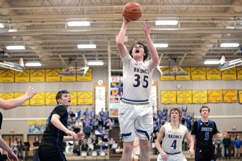 Joel Moline | The Sheridan Press<br /> Sheridan's Same Lecholat (35) scores two points against Thunder Basin High School Friday, Jan. 24, 2020. Lecholat led the team with 30 points.