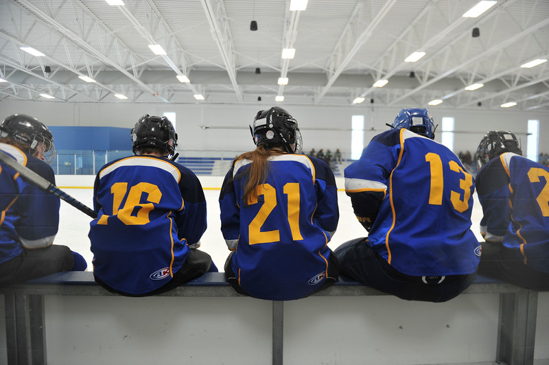 Justin Sheely | The Sheridan Press<br /> The Hawks wait on the bench during the WAHL High School B State Tournament at Whitney Ice Rink in the M&M's Center Saturday, Feb. 24, 2018.
