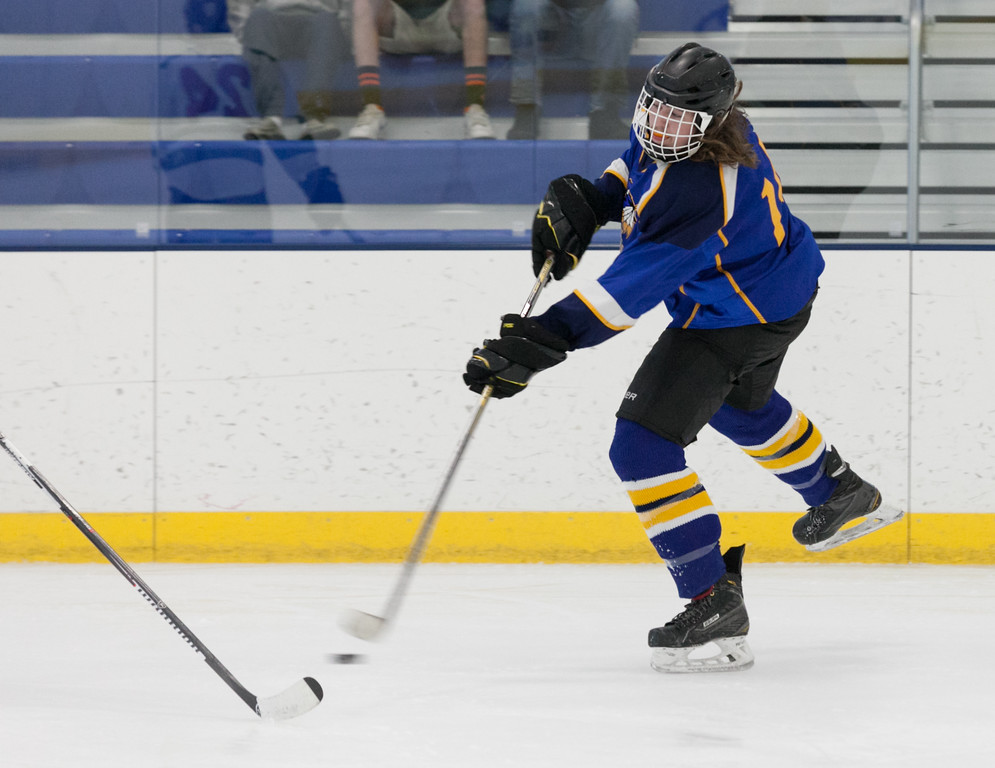 Tibby McDowell   The Sheridan Press<br /> Justin Bailey takes a shot on goal during the semi-finals of the state tournament at Whitney Rink at the M&M's Center Saturday Feb. 24, 2018.