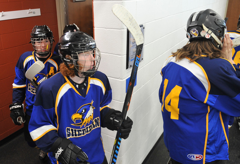 Justin Sheely | The Sheridan Press<br /> The Hawks leave the locker room during the WAHL High School B State Tournament at Whitney Ice Rink in the M&M's Center Saturday, Feb. 24, 2018.
