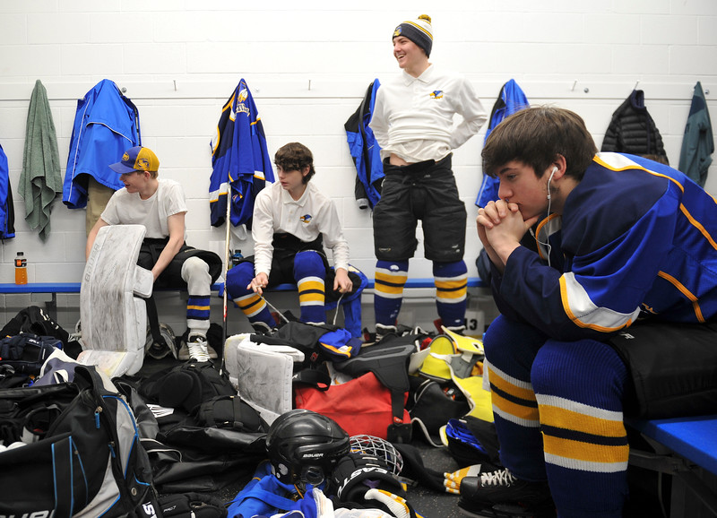 Justin Sheely | The Sheridan Press<br /> The Hawks prepare in locker room during the WAHL High School B State Tournament at Whitney Ice Rink in the M&M's Center Saturday, Feb. 24, 2018.