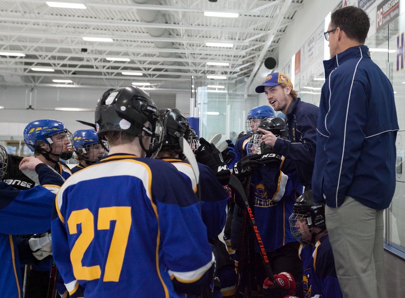 Tibby McDowell | The Sheridan Press<br /> Coach Kirk Viren calls a time-out during the semi-finals of the state tournament at Whitney Rink at the M&M's Center Saturday Feb. 24, 2018.