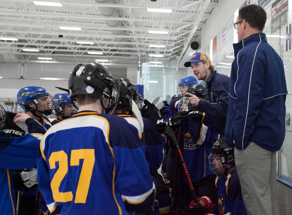 Tibby McDowell   The Sheridan Press<br /> Coach Kirk Viren calls a time-out during the semi-finals of the state tournament at Whitney Rink at the M&M's Center Saturday Feb. 24, 2018.