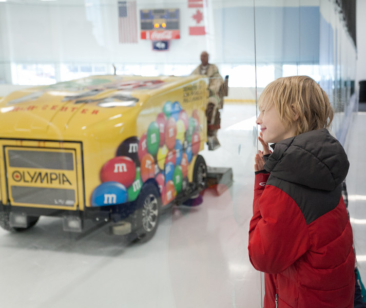 Tibby McDowell | The Sheridan Press<br /> Nine-year-old Kaden Craig watches the zamboni clear the ice after the completion of the first period of Sheridan Hawks vs Pinedale in the semi-finals of the state tournament at Whitney Rink at the M&M's Center Saturday Feb. 24, 2018.