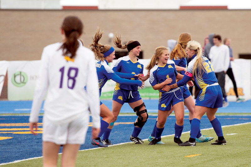 Matthew Gaston | The Sheridan Press<br>The Lady Broncs celebrate after Sheridan's Aubrey Cooper (1) scores a header in the first half against Campbell County Tuesday, April 30, 2019. The Lady Broncs won 2-0.