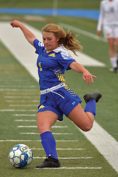 Matthew Gaston | The Sheridan Press<br>Sheridan's Aubrey Cooper (1) crosses the ball inside for a shot on goal against Campbell County Tuesday, April 30, 2019. The Lady Broncs won 2-0.