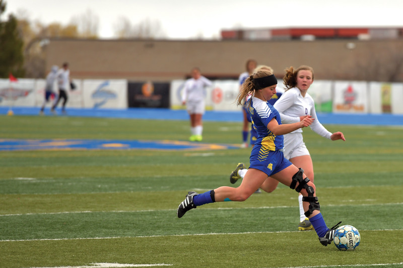 Matthew Gaston | The Sheridan Press<br>Sheridan's Talia Steele (2) out hustles Campbell County's Sabra Tompkins (9) during play at Homer Scott Field Tuesday, April 30, 2019. The Lady Broncs won 2-0.