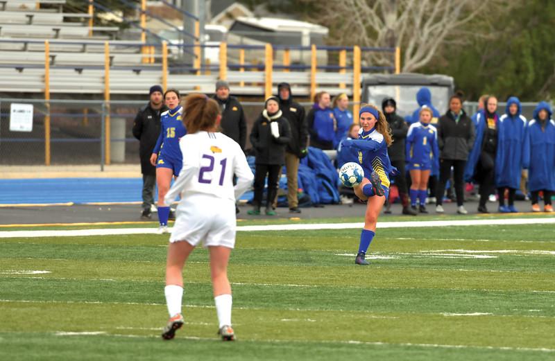 Matthew Gaston | The Sheridan Press<br>Sheridan's Aria Heyneman (10) boots the ball down the pitch at Homer Scott Field Tuesday, April 30, 2019. The Lady Broncs won 2-0.