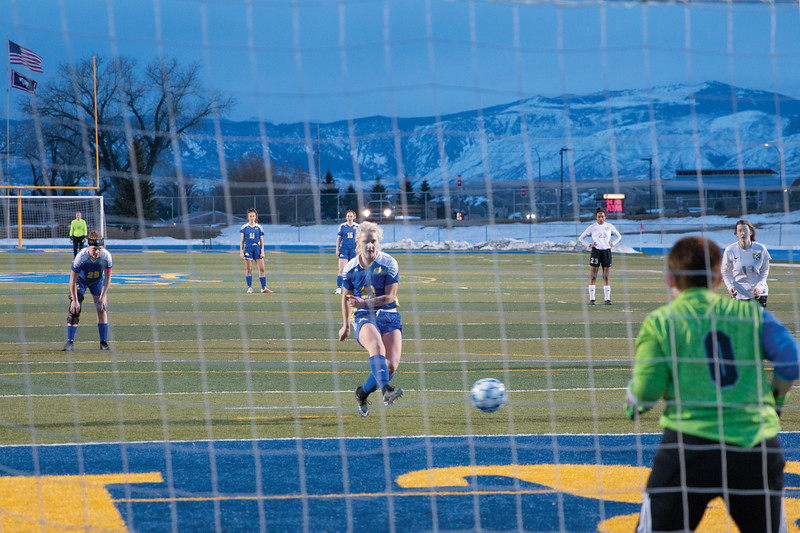 Matthew Gaston | The Sheridan Press<br>Sheridan's Braylee Standish (22) scores on the penalty kick Friday, March 22, 2019. The Lady Broncs won 3-0.