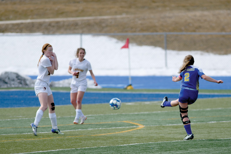 Matthew Gaston | The Sheridan Press<br>Sheridan's Talia Steele (2) fires off a shot from outside the box against Laramie at Homer Scott Field Saturday, March 23, 2019.