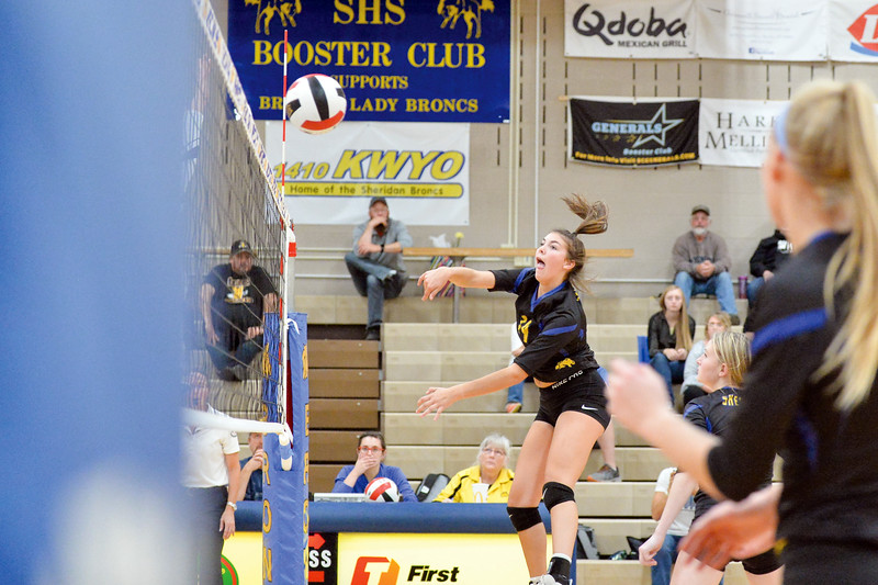 Joel Moline | The Sheridan Press<br>Sheridan's Preslee Moser (14) hits the ball in action against Campbell County Friday, Oct. 25, 2019. The Lady Broncs lost in five.
