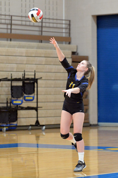 Joel Moline | The Sheridan Press<br /> Sheridan's Lindsey Hall (11) serves the ball against Campbell County Friday, Oct. 24, 2019.