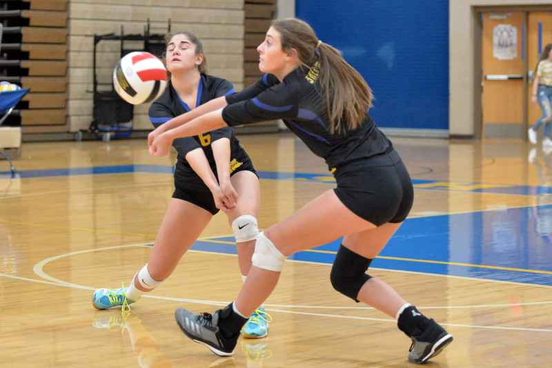 Joel Moline | The Sheridan Press<br /> Sheridan's Abby Sanders (7) and Rebecca Brugiafreedo (6) both go for the ball against Campbell County Friday, Oct. 24, 2019.