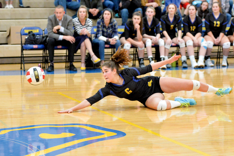 Joel Moline | The Sheridan Press<br>Sheridan's Rebecca Brugiafreddo (6) pancakes for a save against Campbell County Friday, Oct. 25, 2019. The Lady Broncs lost in five.