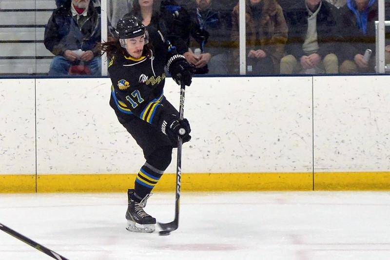 Joel Moline   The Sheridan Press<br /> Sheridan NA3HL Hawks player Alex Kesler (17) attempts a shot against the Gillette Wild Tuesday, Dec. 31, 2019.