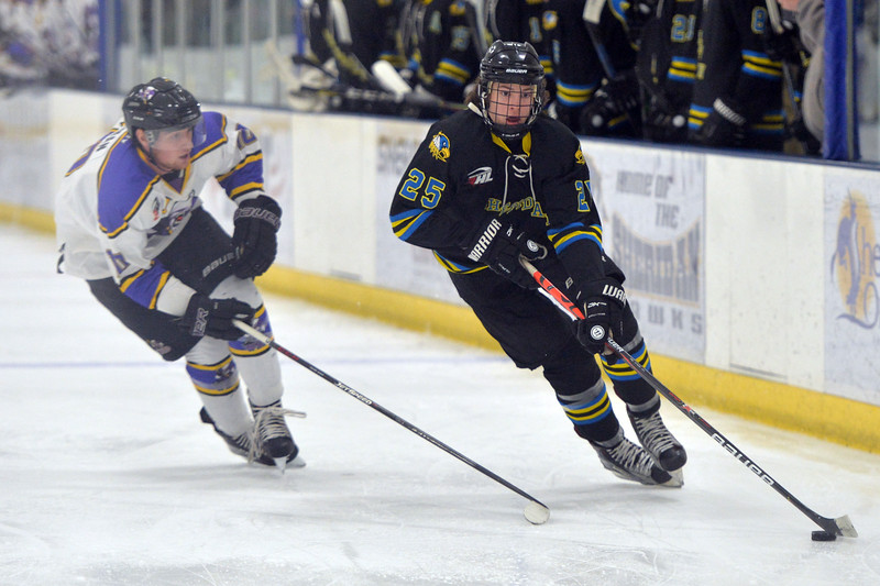 Joel Moline   The Sheridan Press<br /> Sheridan NA3HL Hawks player McCaffery Billings (25) controls the puck in the offensive zone against the Gillette Wild Tuesday, Dec. 31, 2019.