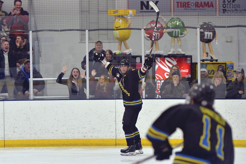 Joel Moline   The Sheridan Press<br /> Sheridan NA3HL Hawks player Stpan Ruta celebrates after scoring a shorthanded goal against the Gillette Wild Tuesday, Dec. 31, 2019.