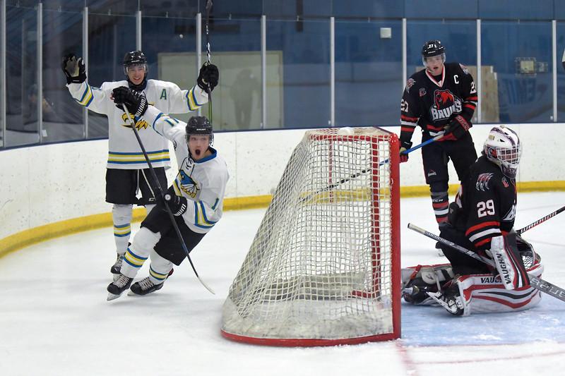 Joel Moline | The Sheridan Press<br /> Sheridan NA3HL Hawks Logan Syrup (10) and Justin Schwartzmiller (11) celebrate after Schwartzmiller's goal against the Missoula Junior Bruins Saturday, Nov. 9.