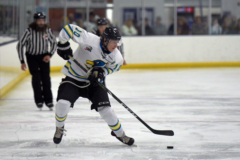 Joel Moline | The Sheridan Press<br /> Sheridan NA3HL Hawks player Logan Syrup (10) looks for an open teammate against the Missoula Junior Bruins Saturday, Nov. 9.