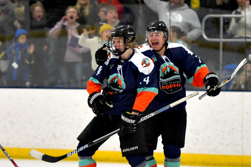 Joel Moline | The Sheridan Press<br /> Sheridan NA3HL Hawks player Blake Billings (14) celebrates after tieing the game against the Yellowstone Quake Saturday, Feb. 22, 2020.