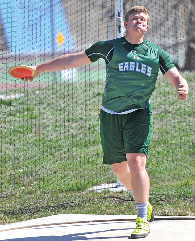 Bud Denega | The Sheridan Press<br /> Tongue River's Marcus Sharp placed fourth in the discus at the Dan Hanson Invite at Homer Scott Field Saturday, April 21, 2018.