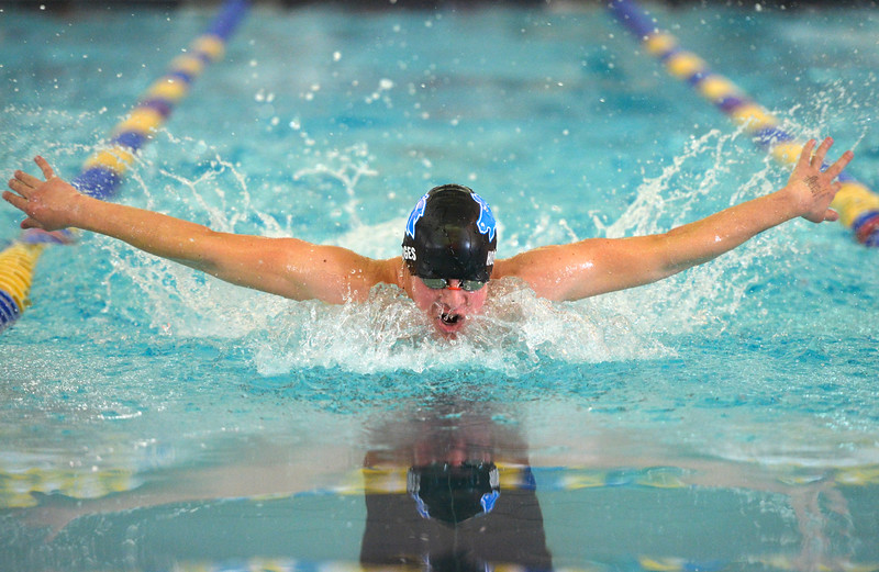 Justin Sheely   The Sheridan Press<br /> Sheridan's Noah Hodges does the butterfly stroke in the 200-meter IM during the Sheridan invite at the Sheridan Junior High School Pool Saturday, Jan. 6, 2018.