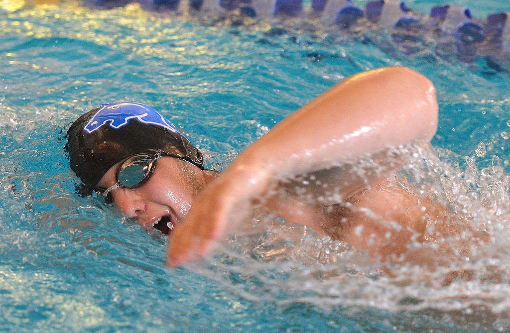 Justin Sheely | The Sheridan Press<br /> Sheridan's Matthew Thompson competes in the 200-meter freestyle during the Sheridan invite at the Sheridan Junior High School Pool Saturday, Jan. 6, 2018.