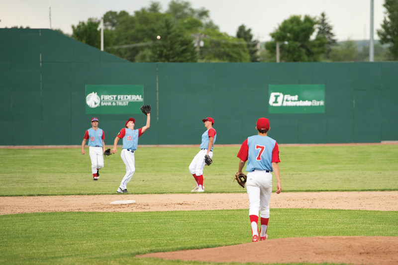 Matthew Gaston   The Sheridan Press<br>Sheridan short stop Quinn McCafferty (10) catches a fly ball to retire the side Wednesday, June 19, 2019.