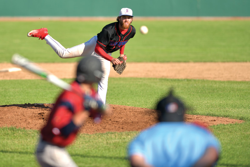 Matthew Gaston | The Sheridan Press<br>Sheridan's Race Johnston (4) pitched a complete game against Billings Friday, July 5, 2019.