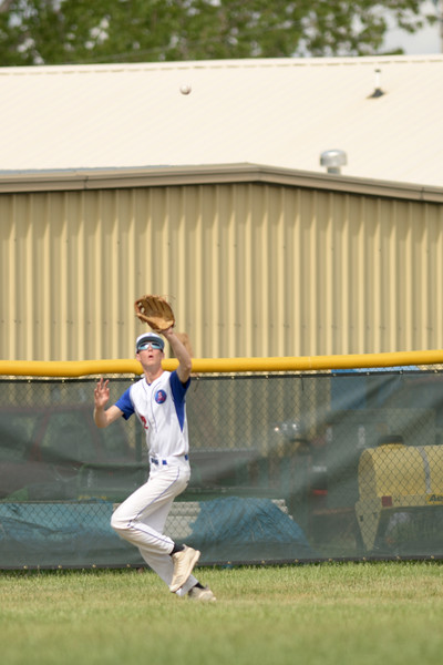Matthew Gaston | The Sheridan Press<br>Sheridan's Justice Rees (22) makes the catch deep in centerfield against Gillette Wednesday, May 27, 2020.
